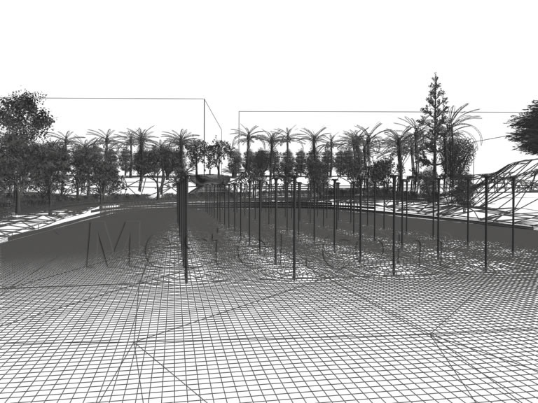 Perspective view of the modelling and related rendering